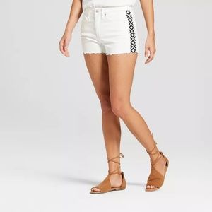 High-Rise Shortie Jean Shorts - White